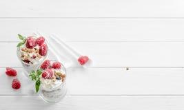 Granola med yoghurt och hallonet royaltyfria foton