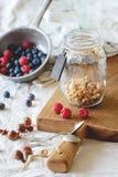 Granola met bessen stock afbeeldingen