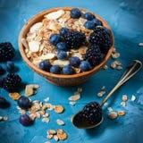 Granola met bosbessen en braambessen Gezond voedsel stock afbeeldingen