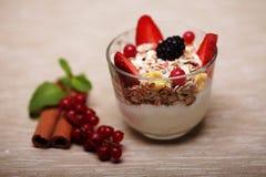 Granola met verse bessen en yoghurt Royalty-vrije Stock Fotografie
