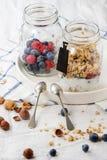 Granola met yoghurt en bessen stock foto