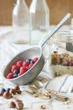 Granola met yoghurtbessen stock foto's