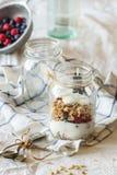 Granola met yoghurtbessen stock foto