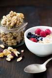 Granola with milk. Berries and nuts Stock Photography