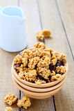 Granola with milk for breakfast Royalty Free Stock Photos