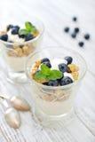 Granola mit Jogurt und Beeren Lizenzfreie Stockbilder