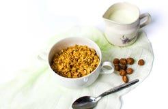 Granola muesli with hazelnuts in bowls Stock Photo