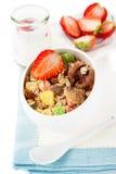 Granola (muesli) with strawberries and walnuts. Healthy Breakfast Royalty Free Stock Image