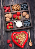 Granola, nuts, berries, honey, milk. Royalty Free Stock Photography