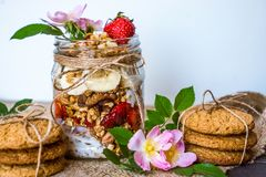 Granola in a jar on a white background royalty free stock photos