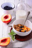 Granola and oat mash with fresh blueberries, Royalty Free Stock Images