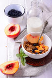 Granola and oat mash with fresh blueberries, Stock Photography