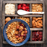 Granola, oatmeal, nuts and berries Royalty Free Stock Photo