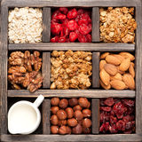 Granola, oatmeal, nuts, berries in a wooden box. Top view. Food background Stock Image