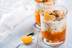 Granola with orange and mandarin Royalty Free Stock Images