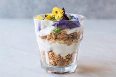 Granola Parfait with Yogurt and Edible Flowers / Muesli. stock photos