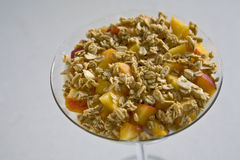 Granola and Peach Parfait Stock Photos