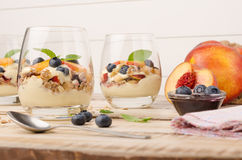 Granola with peaches, yogurt and blueberries Royalty Free Stock Images