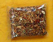 Granola in plastic packet stock image