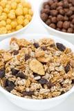 Granola with raisins, sunflower seeds, various breakfast cereals Stock Photos
