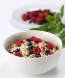 Granola with raspberries and blueberries Royalty Free Stock Images