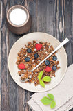 Granola with raspberries and blueberries. top view Royalty Free Stock Photos