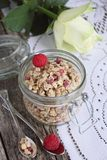 Granola with raspberry Stock Photo