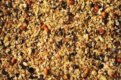 Granola roasted caseiro orgânico com porcas e passas na folha de cozimento Alimento para o fundo da refeição do café da manhã, gr Imagens de Stock