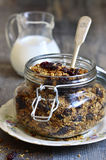 Granola from rye and oat flakes with dried cranberries and cocon Stock Photo