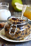 Granola from rye and oat flakes with dried cranberries and cocon Stock Photography