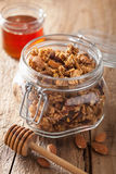 Granola sano casalingo in barattolo e miele di vetro Immagini Stock
