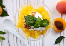 Granola sano de la avena del desayuno con el yogur, albaricoque en una luz Fotografía de archivo