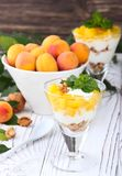 Granola sano de la avena del desayuno con el yogur, albaricoque en una luz Imágenes de archivo libres de regalías