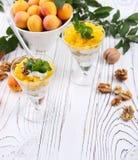 Granola sano de la avena del desayuno con el yogur, albaricoque en una luz Fotos de archivo