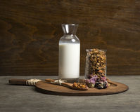 Granola. Served with milk and fruit stock photo