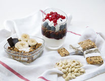 Granola. Served with milk and fruits royalty free stock image