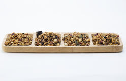 Granola. Served on vooden plate royalty free stock photography