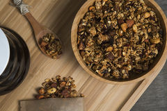 Granola. Served with yogurt and coffee royalty free stock photo