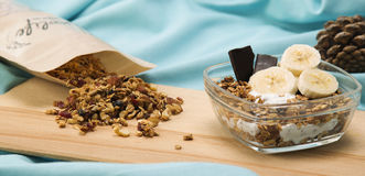 Granola. Served with yogurt and fruit royalty free stock photos