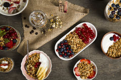 Granola. Served with yogurt ,milk and fruits stock image