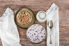 Granola in set, view from above. Royalty Free Stock Photo