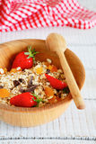 Granola with strawberries and chocolate chips Royalty Free Stock Photography