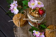 Granola in a glass jar royalty free stock photography