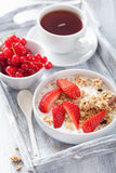 Granola with strawberry for breakfast Royalty Free Stock Photography