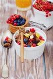 Granola und frische Beeren Stockbilder