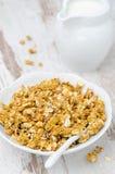 Granola van de pompoen en een kruik melk Stock Foto