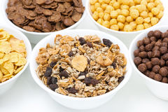 Granola and various breakfast cereals, close-up Royalty Free Stock Photos
