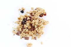 Granola on White Background Royalty Free Stock Photography
