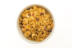 Granola in white bowl Royalty Free Stock Photo