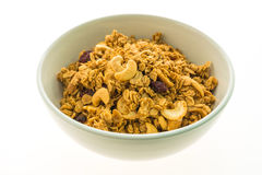 Granola in white bowl Stock Images
